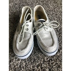 Sperry top sider white sequin shoes size 6.5 EUC